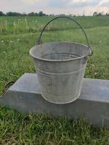 Vintage Galvanized Steel Pail Rustic Chore Coal Bucket Farm Country Planter