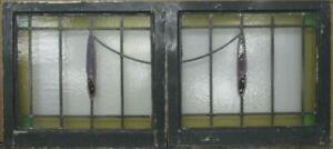 Pair Of Old English Stained Glass Windows Bordered Sweep Design 46 X 20 5