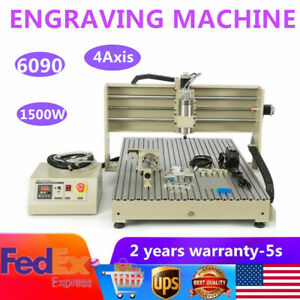 1500w Usb 4 Axis Cnc 6090t Router Engraver 3d Milling Carving Engraving Machine