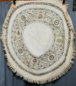 Vtg Antique Silk Wool Hand Embroidered Arts Crafts Mission Linen Table Topper 39