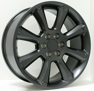 Single 22 Satin Black 8 Spoke Cadillac Escalade Replica Replacement Wheel Rim