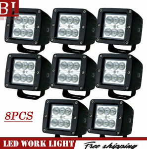 8pcs 3 18w Spot Led Work Light Square Cube Pods Offroad Fog For Jeep Truck Atv