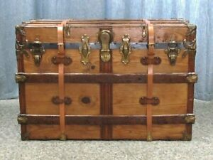 Large Professionally Restored Antique Wood Flat Top Steamer Trunk 36 X22 X24
