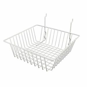 Econoco White Wire Basket For Slatwall Grid Of Pegboard Commercial All Purpose