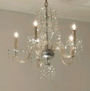 Fabulous Vintage Glass 5 Arm Fancy Prismed Maria Theresa Style Chandelier