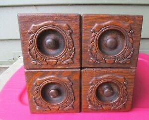 4 Antique Singer Oak Ornate Treadle Sewing Machine Table Drawers