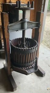 Antique Wooden And Cast Iron Wine Fruit Press With Authentic Stenciled Design