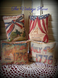 New Set Of 4 Primitive Americana Flag July 4th Bowl Fillers Ornies Vintage Hare