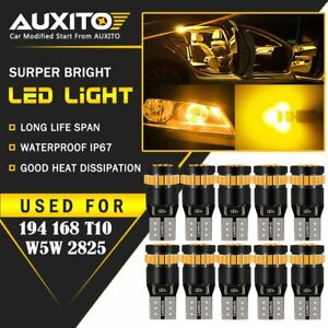 10x Auxito Amber Yellow 168 194 921 License Side Marker Light Canbus Led Bulb Ea