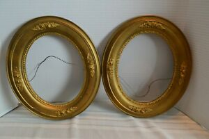 2 Antique Ornate Wood Wooden Plaster Oval Picture Painting Frames Fit 10 X 8