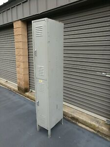 Vtg 1x2 Tall Industrial School Office Lyon Metal Storage Utility Locker Gray