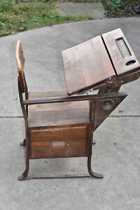 Vintage Old School Chair Youth Wooden Student Desk Kids Furniture 28 5 Height