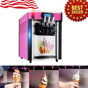 Hot Soft Ice Cream Maker Machine Desktop Small Automatic With 3 Flavors