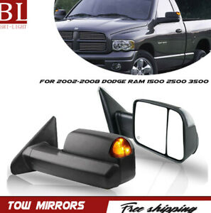 2pcs Power Heated Tow Mirrors Turn Signal Fit 2002 2008 Dodge Ram 1500 2500 3500
