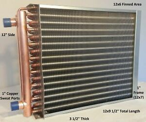 12x6 Water To Air Heat Exchanger 1 Copper Ports W Ez Install Front Flange