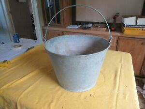 Vintage Large Galvanized Metal Bucket Nice Condition 10 T 15 Dia Lot 19 44 8