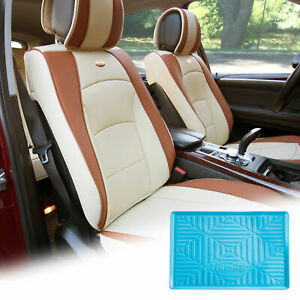 Pu Leather Seat Cushion Covers Front Bucket Beige W Blue Dash Mat For Sedan