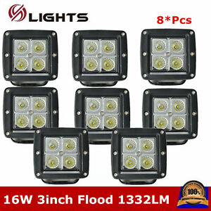 8x 16w Led Work Light Square Flood 3inch Pods Cube Truck Atv Off Road Fog Pk 24w
