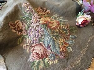Antique Salvaged Needlepoint Victorian Chair Back