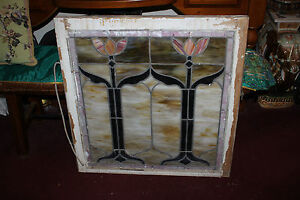 Antique Victorian Art Deco Stained Glass Window Double Tulip Lotus Flowers Large