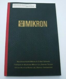 Mikron Automatic Gear Hobbing Machine Type A21 2 Operator s Manual Original