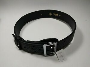 Boston Leather 6501 Sz 34 Black Basketweave Belt With Chrome Buckle