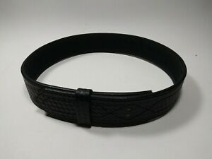 Boston Leather Size 32 Police Security Duty Belt Black Basketweave No Buckle