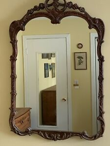 Antique Carved Solid Wood Wall Mirror Ornate Regency Style