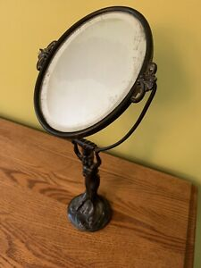 Antique Vintage Art Deco Vanity Table Mirror Woman Holding Beveled Edge Mirror