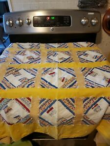 Antique Vintage Old Patchwork Quilt Hand Quilted Nr
