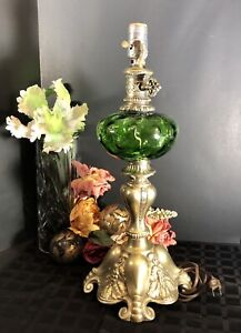 Art Nouveau Brass Green Globe Glass Vintage Lamp With Baroque Hollywood Retro