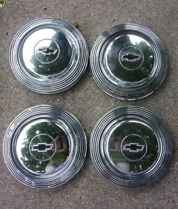 Set Of 4 1965 Or 1966 Chevy Chevrolet Biscayne Bowtie Dog Dish Hubcaps