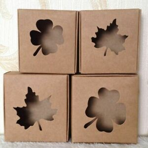 Kraft Paper Box For Gifts Packaging 7 5 7 5 3cm 2 Pcs lot Item Boxes With Window