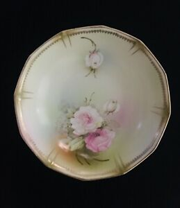Vintage German Hand Painted 9 Porcelain Bowl With Roses