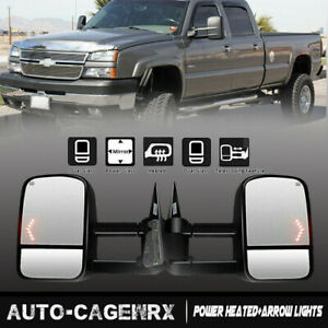 For 2003 06 Chevy Silverado Sierra Power Heated Arrow Lights Towing Side Mirrors