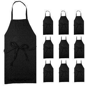 Professional Black Bib Aprons For Restaurant Set Of 12 Durable Adult Waitress