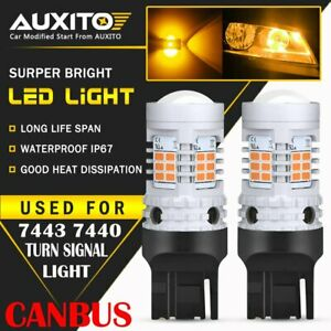 2x 7443 Led Error Free Canbus Front Turn Signal Parking Light Bulbs Amber Yellow