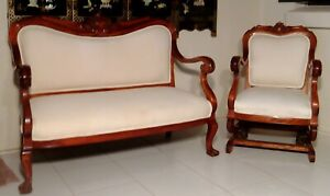19th Cent Victorian Sofa Settee Chair Carved Rosewood Professionally Restored