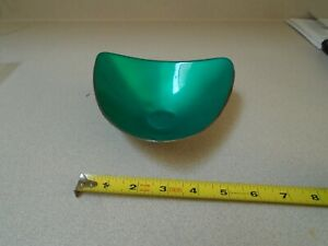 Vintage Reed Barton Green Enamel Silver Plate Triangle Candy Dish No 241