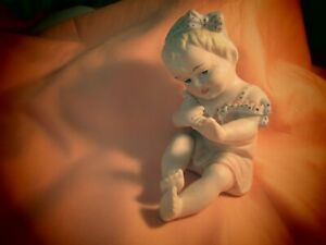 Adorable Vtg Bisque Piano Baby Girl Figurine Hand Painted Great Cond Cab Kept