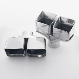 2 5 Inlet Exhaust Tips Rectangle Outlet Slant Cut Staggered 304 Stainless Steel
