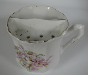 Antique Vintage Mustache Tea Cup White With Spray Of Lilac Roses 19th Century