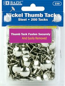 Bazic Silver Thumb Tacks 200 Push Pins For Crafts And Office Organization