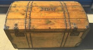Large Antique 19th Century Pine Trunk Dowry Chest Tack Decorated