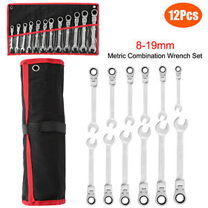 12pc 8 19mm Wrench Combination Spanner Tool Set Metric Flexible Head Ratcheting