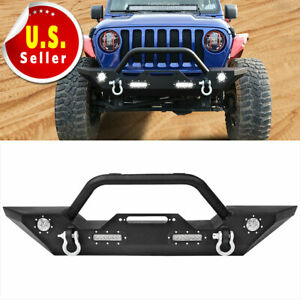 For Jeep Wrangler 18 19 Jl Front Bumper W d rings Built in Led Lights