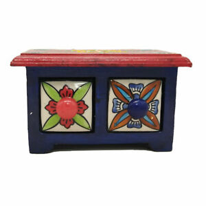 Jewelery Box Gift Handmade Wooden Ceramic Small Chest Of 2 Decorated Drawers