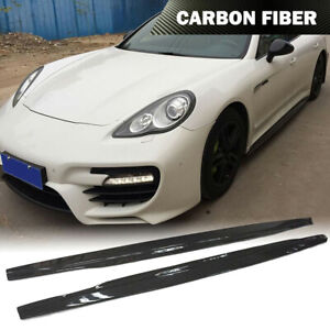 Fits Porsche Panamera 10 13 Side Skirt Extension Spoiler Body Kit Carbon Fiber