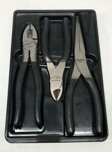Snap On Plr300 Set Of 3 Pliers Diagonal Cutters Needle Nose Pliers Usa W Tray