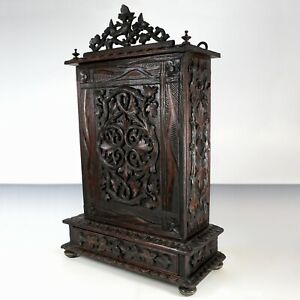 27 Antique Victorian Black Forest Carved Wood Specimen Curiosity Cabinet Box